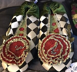 New Mackenzie Childs Complements COURTLY Goody Goody SLIPPERS (Sz Large)