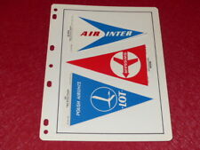 [COLLECTIONS AVIATION CHROMOS] 3 FANIONS COMPAGNIES AERIENNES (1966) Air Inter