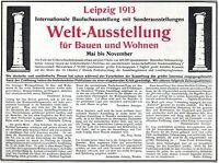 Weltausstellung Leipzig Reklame 1913 Ausstellung Bauen und Wohnen Werbung