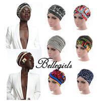 Women Floral African Wrap Hair Head Scarf Turban Hat Muslilm Hijab Long Tail Cap