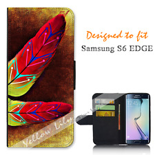 For Samsung Galaxy S6 EDGE Wallet Flip Phone Case Cover Tribal Red Grunge Y00960