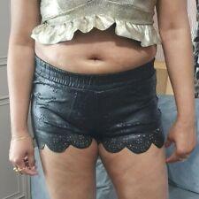 Women's PVC Hot Pants Shorts Laser Cut Out Short Fitted Mini Pant Wet Bottom