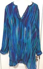 Catherines Long Tunic Top 2X Blue Teal Black Beaded Hi-Lo Cruise Wear Blouse