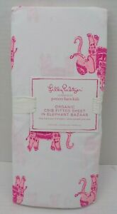 Pottery Barn Kids Lilly Pulitzer Bazaar Elephant Fitted Crib Sheet Pink #7518