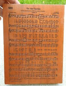 Amish Lasered Cherry Wood Handmade In the Garden Song Plaque Sign