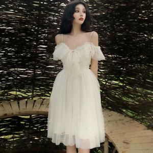 Mesh Ruffle Dress Straps Sweet Lolita Fairy Princess Midi Prom Gown Elegant