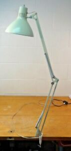 Vintage LUXO Articulated Drafting Lamp Grey clamp base nice mid century creme