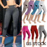 Womens Gym Yoga Workout Fitness Active Compression Capri Leggings Pants Pockets