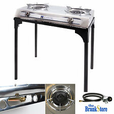 Propane Burner Stove w Stand Double Outdoor Camping Portable Gas Cooker Steel