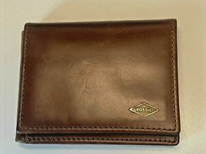 Fossil ML3869200 Mens Extra Capacity Brown Trifold Wallet