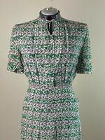 Darling 1940s Novelty Print Dress Roses w/topstitching pintucks Cay Artley