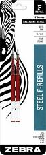 Zebra F-Series Ballpoint Stainless Steel Pen Refill, Fine Point, 0.7mm, Red Ink