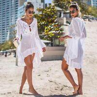 Women Lace Crochet Bikini Beachwear Cover Up Beach Dress Summer Bathing Suit