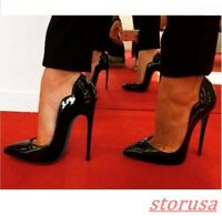 Women Patent Leather Pointy Toe Slip On Prom Pump Dress Shoes Stiletto High Heel