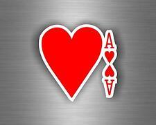 Autocollant sticker voiture jeton poker table casino jeux as de cœur carte A