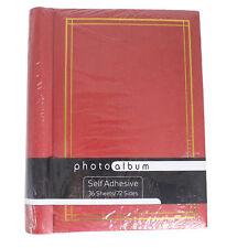 Autoadesivo Foto Album Raccoglitore ad anelli a spirale 36 FOGLI 72 lati-Rosso