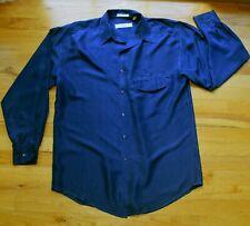VINTAGE Henry Grethel Navy Blue button-down long-sleeve shirt (M 39cm) 100% SILK