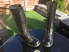 VINTAGE Dr Martens 1420 Nero Liscio Stivali in Pelle UK 6 EU 39 Made in England