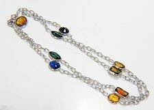 $6000 10.00ct. Natural yellow orange blue sapphire by yard station necklace 14kt