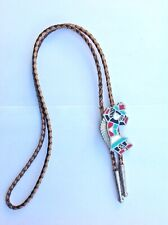 Western Cowboy Bolo Tie Vintage Boot Lace Native American Mexico Zuni Inlay