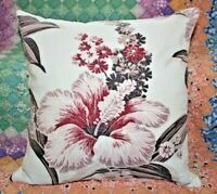 Throw Pillow Made With Vintage Tropical Hibiscus Floral Barkcloth With Insert