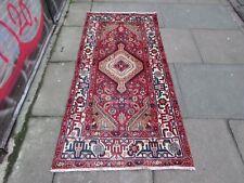 Vintage Worn Traditional Hand Made Oriental Red Blue Wool Short Runner 180x85cm