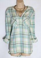 Women's Vintage NEXT Long Roll Sleeve Green Check Cotton Blouse Tunic UK16 UK18