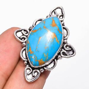 Mohave Copper Blue Turquoise Gemstone 925 Sterling Silver Ring 6 US KR-9065