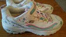Girls / Womens Skechers White Pink Blue Hot Lights Shoes Size 5
