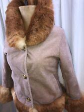 Womens Handmade Coat Sz S Pink Suede & Fur Italy Merino Lamb Shearling Mouton