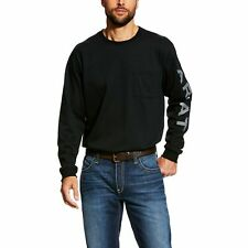Ariat Men's Fr Pocketed Logo Black Long Sleeve T-Shirt 10023948
