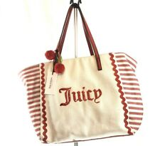 Juicy Couture Juicy Cabana X-Large Tote Beach Bag Purse Red Stripe Canvas ~ NEW