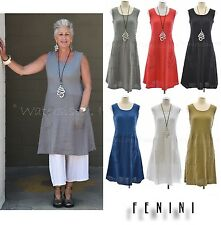 99bf689e55 FENINI USA Linen Ribbed Bodice SHORT DRESS Pocket Tunic Top XS-XXL 2017  COLORS