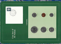 Coin Sets of All Nations Canada w/card Canoe $1, 50, 25, 10, 5, 1 cents 1985 UNC