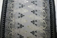 """100% SILK VELVET BURNOUT BLACK AND SAGE FABRIC 45"""" WIDE BY THE YARD"""