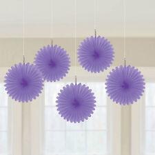 5 X Violet papier ventilateurs pendant Décorations lilas couleur thème