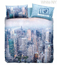 Set Copripiumino Lenzuola Matrimoniale White New York Manhattan Imagine Bassetti