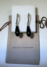David Yurman Sterling Silver Hoop Drop Black Onyx Bijoux Earrings