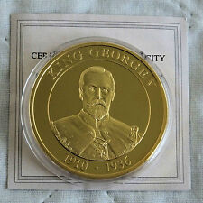 KING GEORGE V 1910 - 1936 40mm GOLD PLATED PROOF MEDAL - coa