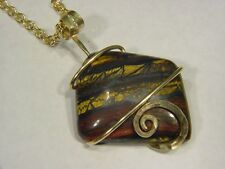 BUTW Forged 14k Gold Fill Wire Wrapped Australian Tiger Iron pendant 9242C dle
