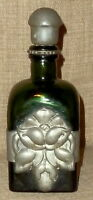 SALE!~ANTIQUE GREEN GLASS C.L.O.C. WHISKEY BOTTLE w/REPOUSSE PEWTER WORK~DENMARK