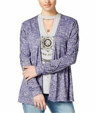 Self E Womens 3-Piece Lace-Up Cardigan Sweater Set (Martime, Small)