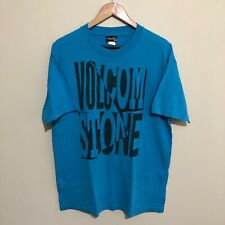 Volcom Spell Out Vintage 90's Graphic T-Shirt Tee Turquoise Blue Mens Large