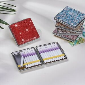Shiny Diamonds Crystals Cigarette Case Box Holder Portable Carrying For Women