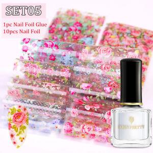 10Pcs BORN PRETTY Clear Nail Foil Glue With Nail Foil Kit Lace Sticker Decal 6ml