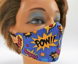 Men's Face Mask - Comic Print - Double Layer Cotton - Reusable Washable - Travel