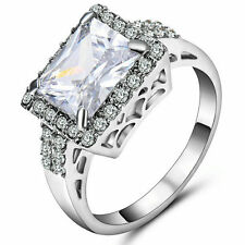 Size 7 Women's White Sapphire Crystal Wedding Ring 10KT White Gold Filled Band