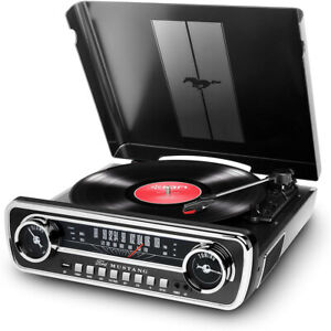 Ion Audio Turntable Mustang LP 4-in-1 Classic Car-Styles Music Center (Black)