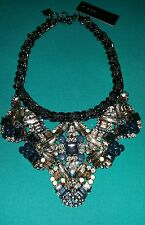 BCBG STONE COLLAR CHAIN NECKLACE BLUE GLASS CLEAR CRYSTALS NWT