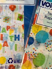Voila Gift Wrapping Happy Birthday Tissue Paper, Party Supplies, 2 Packages- New